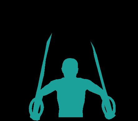 Illustration d'un homme faisant du sport avec des anneaux.