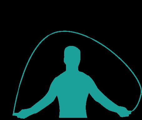 Illustration d'un homme faisant de la corde à sauter.